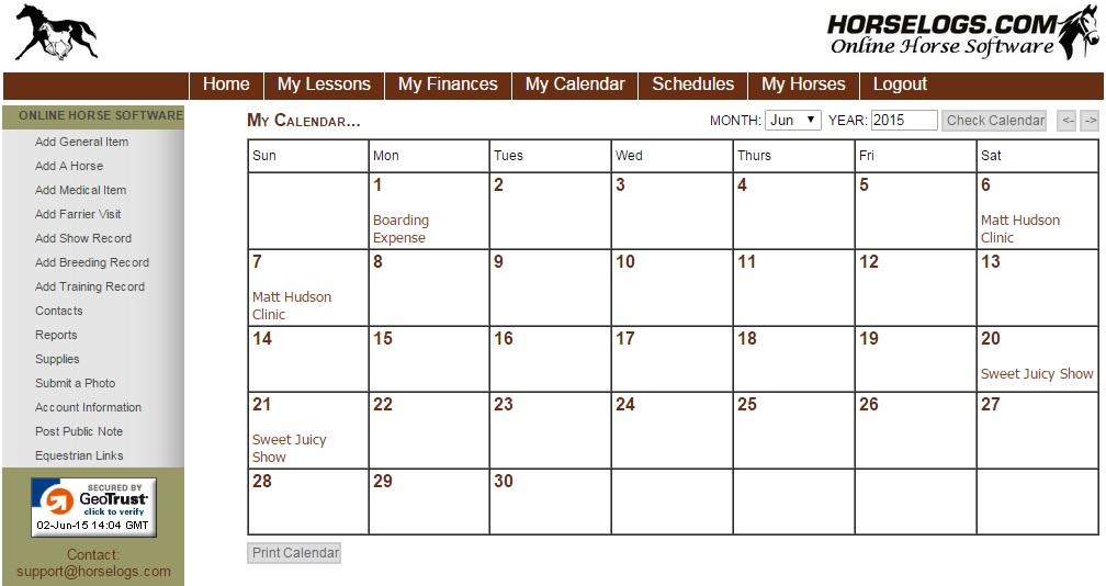 Horselogs Com Online Horse Management Software